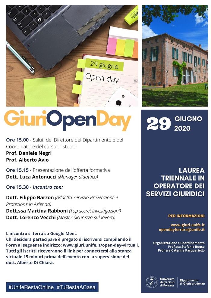 Open day 2020 operatore servizi giuridic